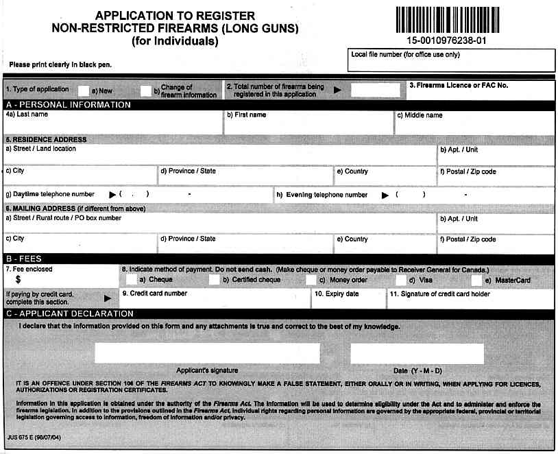 Sample Firearm Registration Forms