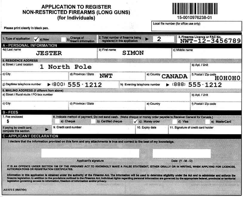Sample Firearm Registration Forms